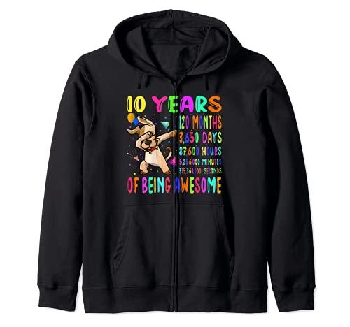 Dabbing Dog 10 Años 120 Meses Niño Niña Fiesta 10º Cumpleaños Sudadera con Capucha
