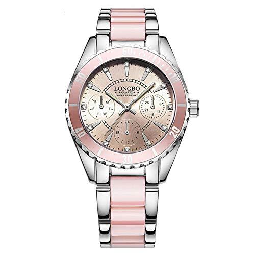 Hunpta @ Damen Armbanduhren wasserdichte Leuchtend Analog Quarz Uhr Mode Rosa Frauen Mädchen Armbanduhr Legierung Keramik Armband Edelstahlschnallen Uhren Weihnachten Kreativ Geschenk (Rosa)