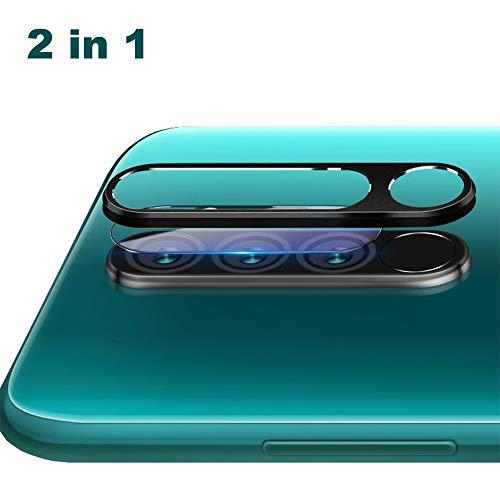 NOKOER Protector de Lente de Cámara para Xiaomi Redmi Note 8 Pro, [2 en 1] Anillo Protector Metálico para la Cámara + Película Protectora para la Cámara, Lente de la Cámara de Protección - Negro