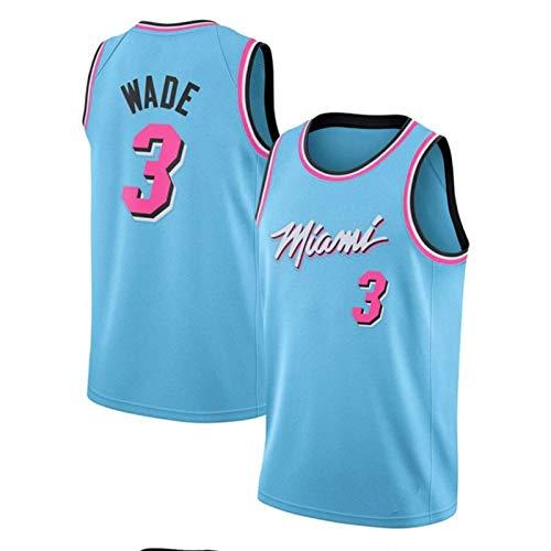 QQJL # 3 Heat Wade Basketballuniform, atmungsaktives Mesh, Hip-Hop-Lineup, Sportswear-Weste (S-2XL),Blau,XL
