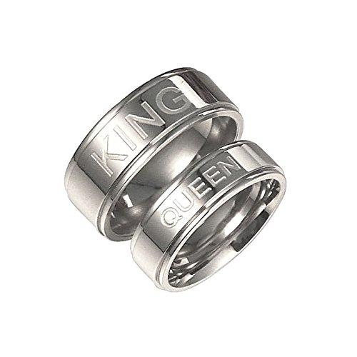 Bishilin 2 Stücke Edelstahl Ringe für Ihn und Sie Hochglanzpoliert mit Gravur King Queen Breite 8/6 MM Eherring Trauring Silber Ringe Damen Gr. 52 (16.6) & Herren Gr. 54 (17.2)