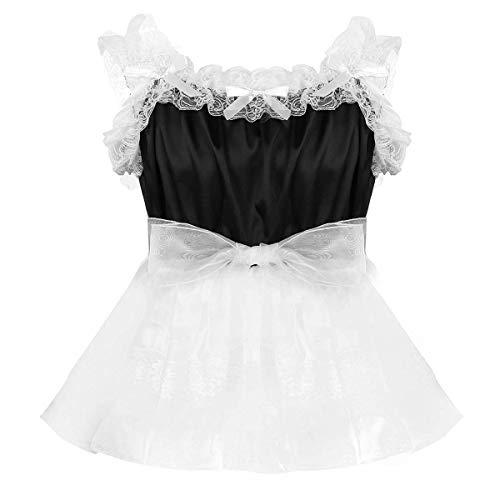 iEFiEL Herren Sissy Kleid mit Spitzen Rüschen Männer Erotik Dessous Body Hemd Nachtwäsche Satin Organza Tütü Röckchen Schwarz X-Large