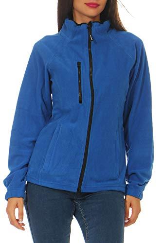 Happy Clothing Chaqueta de forro polar para mujer, para exterior, sin capucha, con cuello, color azul oscuro, negro, tallas S, M, L azul S