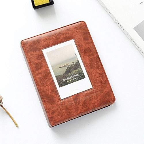 EDCV Album Foto Retro 3 Inch 64 Pocket Fotoalbum Mini Instant Fotoalbum Fotoalbum Opbergdoos, Oranje