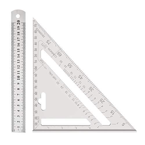 HONGECB 7 Zoll Metrisches Dreieck-Winkelmesser, Dreieck Lineal, Aluminiumlegierung Dreieck Lineal Anschlagwinkel Messwerkzeug, Für Zimmermann, Dachdecker, Ingenieur (Metrisch)