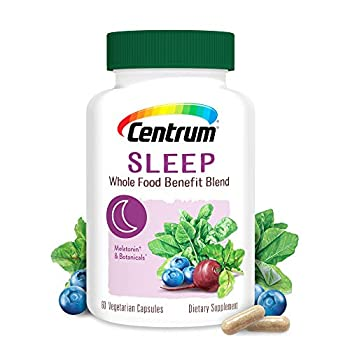 Centrum Sleep Whole Food Benefit Blend with Melatonin & Botanicals 60 Vegetarian Capsules  Dietary Supplement  Pack of 1