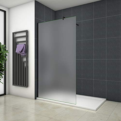 Aica Sanitär Duschwand Walk In Dusche 80cm Duschabtrennung 10mm NANO Milchglas Glas Duschtrennwand 200cm Höhe Splitterschutzfolie mit Schwarzen Anbauteilen