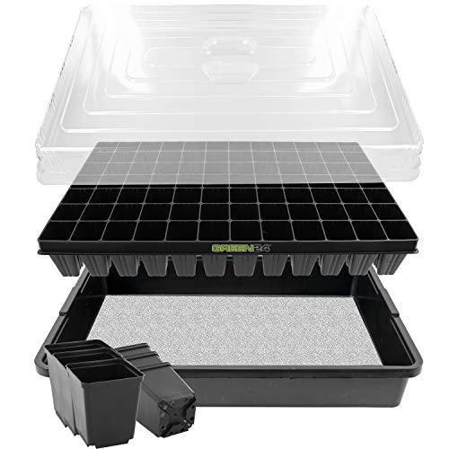 GREEN24 Anzucht-System 84WT Zimmer-Gewächshaus XXL Profi mit automatischer Bewässerung für die Anzucht Zimmer Treibhaus mit Wasser-Wanne + Kapillarsystem + Topfplatte + Haube + Töpfe