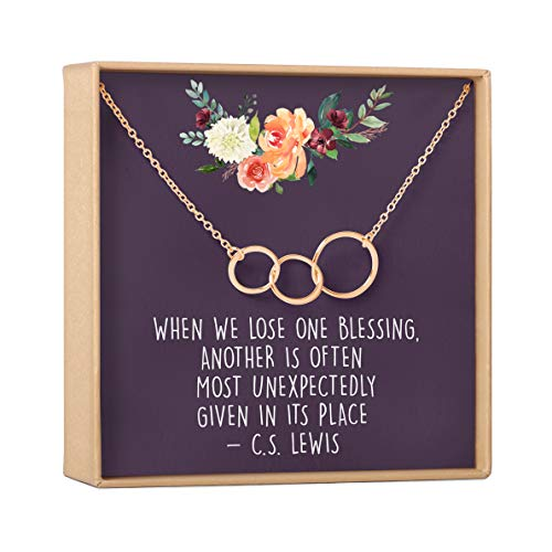 Dear Ava Miscarriage Gift Necklace: Loss of Infant, Baby, Child, in Loving Memory, 3 Asymmetrical Circles (Rose-Gold-Plated-Brass, NA)