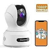 Topcony Camara Vigilancia WiFi Interior 1080p Seguvidad, Cámara IP para Bebé y Mascotas con Visión Nocturna Detección de Movimiento Intercomunicación Compatible con Alexa, 2.4GHz WiFi (Blanco)