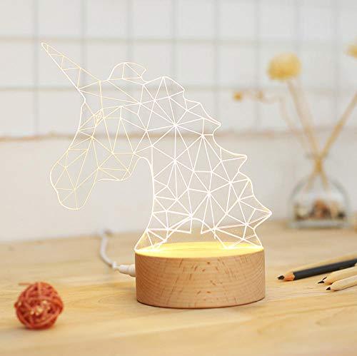 Girly Heart Fantasy Licorne Night Light Chambre Table De Chevet Lampe Personnalité D'Anniversaire Cadeau-Coloré Dimming_3D Licorne Demi Corps-Normal Emballage