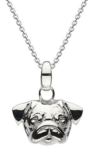 Dew 90556HP Collana con ciondolo a forma di testa di carlino in 3D, in argento Sterling, da 45,7 cm