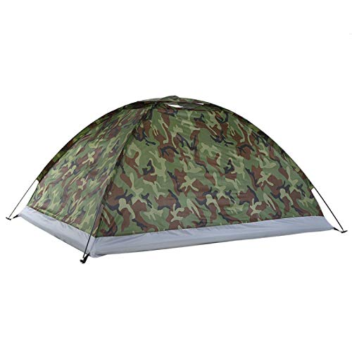 DRGRG Pop Up Camping Tents Camouflage Ultralight Camping Tent Ice Fishing Tent For 2 Person Single Layer Outdoor Portable Beach Style1M