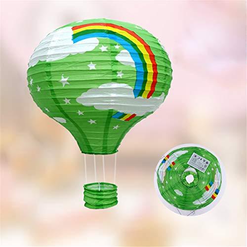 LHY LOFT Arcobaleno Mongolfiera LED Bambini Plafoniera,Decorazioni Plafoniera,Cartoon Lampada Soffitto,Paralume di Carta Pieghevole in Ferro Battuto di Scheletro 2 Pack,Verde,B:40CM