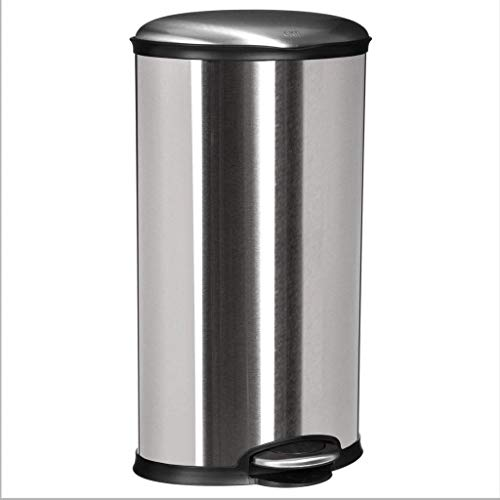 Poubelle ovale - 30L - Acier inoxydable - Silver