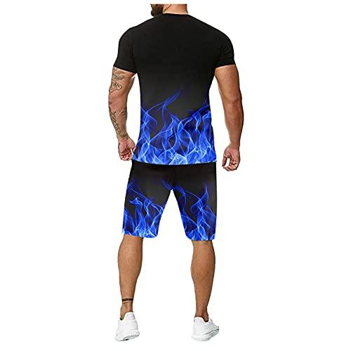 Xmiral 3D Drucken Trainingsanzüge Herren Rundhals Farbkontrast T-Shirt + Elastische Taille Shorts Sommersportanzüge(f-Blau,3XL)