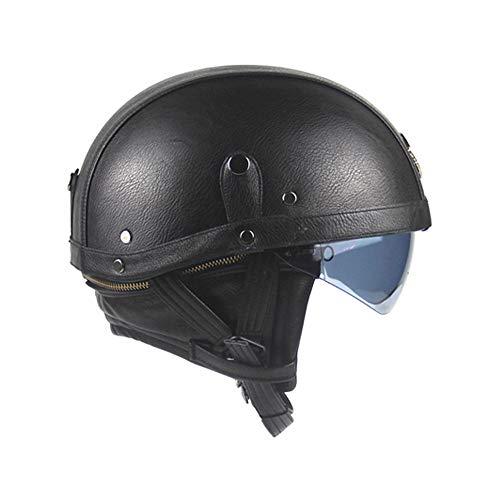 Viviance PU Cuero Vintage Tamaño Motocicleta Medio Casco con Parasol Desmontable Collar para Harley - Negro