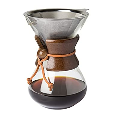 Pour Over Coffee Maker with Borosilicate Glass Carafe and Reusable Stainless Steel Permanent Filter by Comfify - Manual Coffee Dripper Brewer with Real Dark Brown Wood Sleeve - 30 oz. - Free Ebook