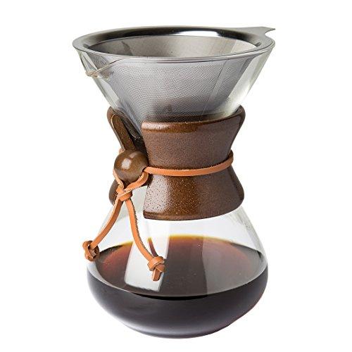 Comfify Pour Over Kaffeekaraffe aus Borosilikatglas und wiederverwendbarem Edelstahl Permanent-Filter - Manuelle Kaffeemaschine mit echtem dunkelbraunem Holzmantel - 887ml - Kostenloses Ebook