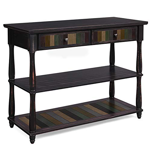 VASAGLE Console Table with Colourful Drawers, 3-Tier Entryway Table with Shelves, for Living Room, Dining Room, Hallway, Easy Assembly, Roman Column Style Solid Wood Legs, Country Brown LCT15GL