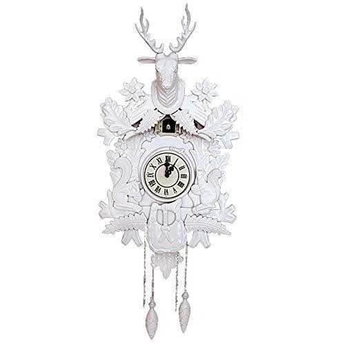 LHGXQ-Dp Reloj Pared Cuarzo Cuco, Creativo Reloj Pared Decorativo Retro Madera Maciza Cabeza Ciervo, Moderno Reloj Péndulo Casero Personalizado Detección Luz,Blanco,100 * 42 * 31CM
