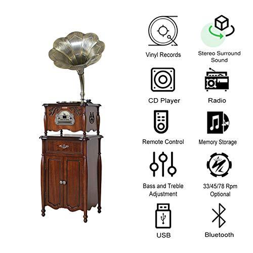 GOM platenspeler retro bluetooth, 3-speed platenspeler Hi-Fi stereo luidspreker, RCA-uitgang, ondersteunings-CD-speler, radio, USB-aansluiting
