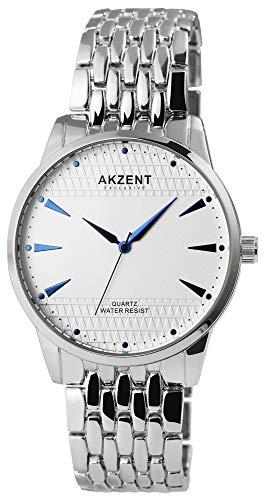 Akzent - Reloj de pulsera analógico para hombre (cuarzo, metal), color blanco y plateado