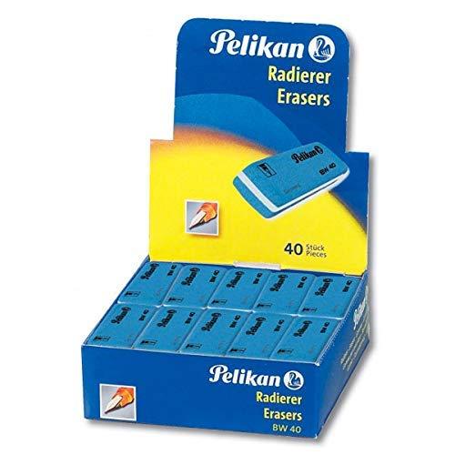 Pelikan 0ARF40 Gomma BW 40 Blu, Confezione Risparmio da 40 Pezzi, Adatta per Disegno Tecnico e Scolastico, Forma a Scalpello, per Inchiostro
