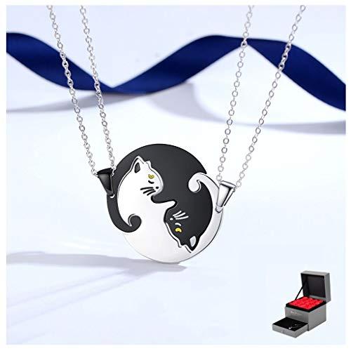 Exquisito collar Pareja collar del gato un par de joyería creativa de plata de ley 925 colgante de la manera de costura for hombres y mujeres (con Rose Caja de regalo) regalo de cumpleaños