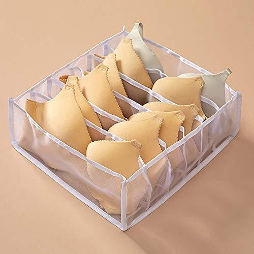NOPNOG Home Schubladen Aufbewahrungsbox, Kleiderschrank Schrank Organizer, für Unterwäsche BH Socken Höschen, Polyester (Weiß,6 Zellen)