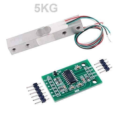 Wägezelle 5 KG Verstärker HX711 Breakout, digitale tragbare Küchenwaage Gewichtssensor AD-Modul Wiegen für Arduino Raspberry Pi