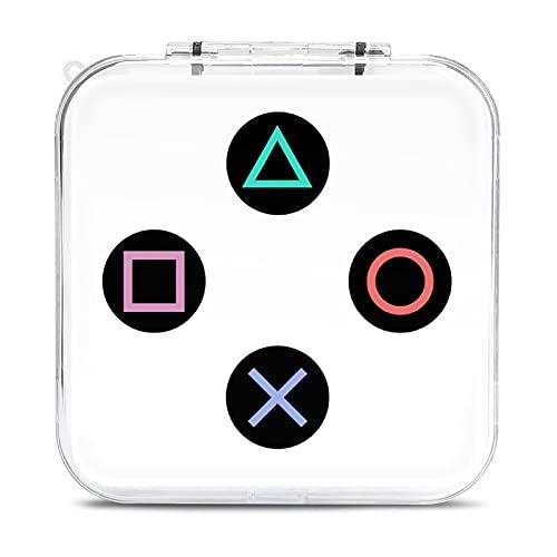 Juega con botones de mando Playstation, caja de almacenamiento de tarjeta de juego, estuche duro, tarjetas de memoria SD, caja portátil con 12 ranuras