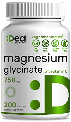 Deal Supplement Magnesium Glycinate Plus Vitamin C, 750mg, 200 Capsules | 100% Chelated for High Absorption | Supports Muscle Heart Bones Health, Leg Cramps, Stress Relief & Sleep