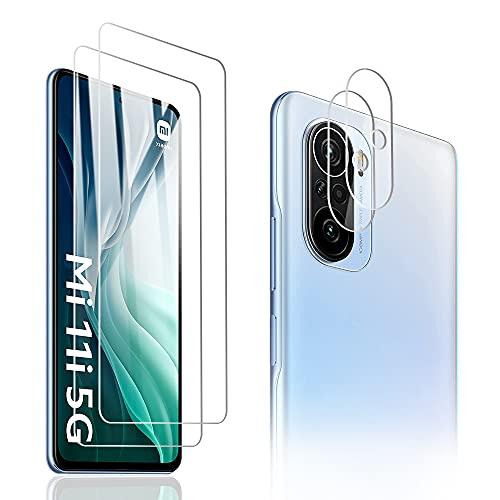 PaceBid 2 Pack Vetro Temperato + 2 Pack Protezione Lente Pellicola Posteriore Compatibile con Xiaomi Mi 11i 5G, [ 9H Durezza ] [ Anti-Graffi ] [ Caso-amichevole ] Pellicola Protettiva