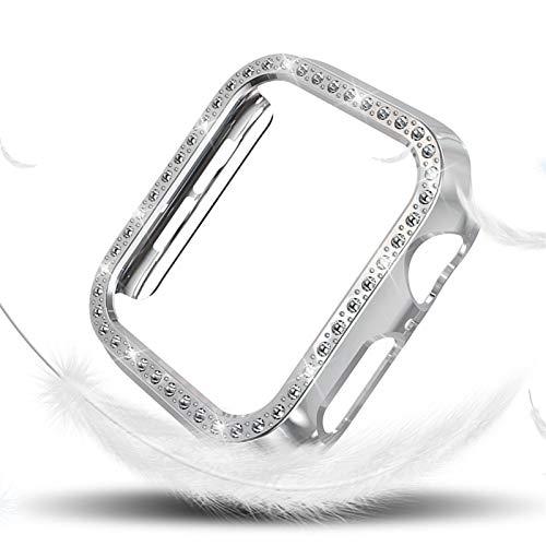 PZZZHF Funda de Diamantes para Mujeres para la Serie de Relojes de Apple 4 40mm 44mm para Cubierta Protectora de iWatch PC Estuche de Reloj Cáscara (Color : Silver, Dial Diameter : (Series 4) 40mm)