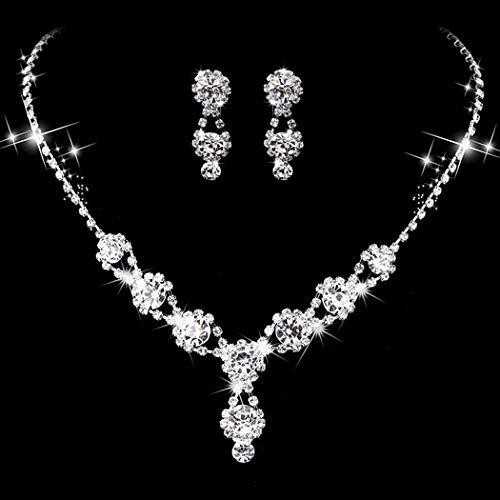 Ushiny Conjuntos de joyas de boda de plata de cristal nupcial collares y pendientes conjunto de gargantilla de diamantes de imitación para mujeres y niñas (498 #)