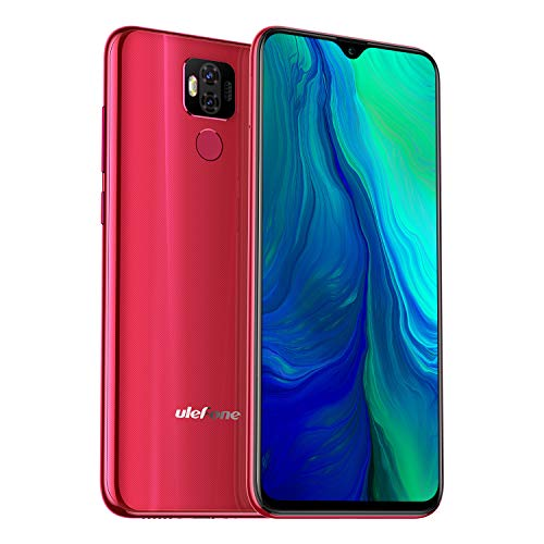 Ulefone Power 6 Unlocked Cell Phone Android 9.0 6.3' FHD+ Waterdrop Full Screen 4GB RAM+64GB ROM 6350mAh Big Battery 5V/3A Fast Charge 16MP+8MP Dual Sim Smartphone Face+Fingerprint Unlocked NFC (Red)