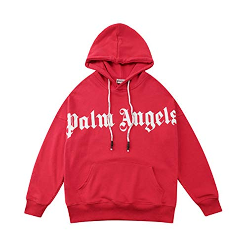 Street Fashion PA Brust Big Logo Brief Druck Männer Frauen Paar Pullover Engel Hoodie Rot Gr. M, farbe