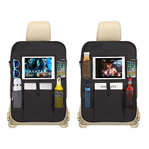 Organizer Sedile Auto Universale Protezione Sedili Posteriore con Multi-tasca Portaoggetti Impermeabile Organizzatore Bambini per iPad Rivista Spuntini Bicchiere d'acqua Nero 2Pcs