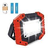 Lambony Lampe de Travail Rechargeable LED 30W Lampe de Sécurité avec 3 Modes pour Extérieur COB Projecteur de Camping avec USB étanche pour Cour, Garage, Pêche, Rouge (Piles Incluses)