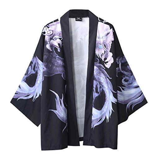SoonerQuicker Camisa de Hombre Blusa con Mangas japonesas de Cinco Puntos de Kimono para Hombre y para Mujer T Shirt tee Blusa(Negro L)