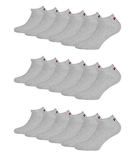 Fila 9 Paar Socken, Invisible Sneakers Unisex, einfarbig, 35-46 (3x 3er Pack) (Grau, 35-38 (3-5 UK))