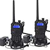 Retevis RT5 Dual Band Two Way Radio VHF UHF High Power Long Range Police Ham Car Travel Handheld Radio Scan VOX 2 Way Radio with Earpiece(2 Pack)