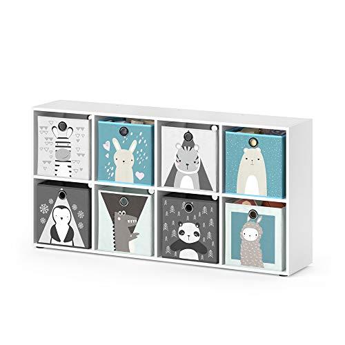 Vicco Kinderregal 4 6 oder 8 Fächer inklusive Kinder Faltboxen Bücherregal Aufbewahrungsregal Spielzeug (8)