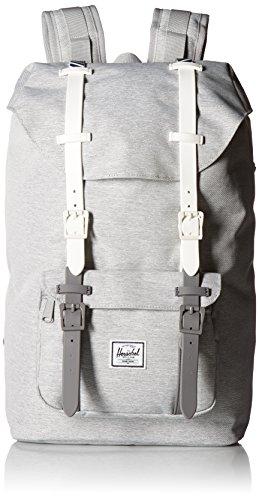 Herschel Unisex-Erwachsene Little America Backpack Rucksack, Hellgrau gekreuzte Schraffur/weiße Gummi/blau-gestreift, Classic 25L