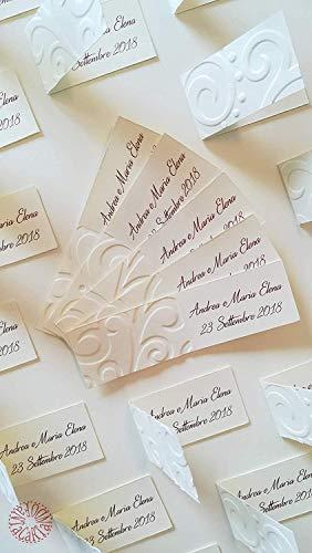Fantacartando Kit 10 bigliettini bomboniere con decorazione in rilievo onde per nascita, Battesimo, Prima Comunione, Cresima, laurea, matrimonio, anniversario, compleanno