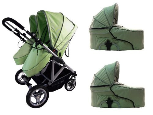 Fantastic Deal! Stroll-Air 2017 My Duo Stroller with 2 Bassinets (Green)