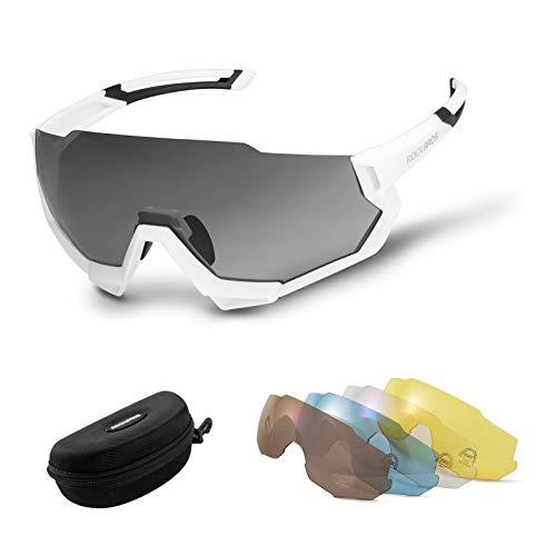 ROCKBROS Gafas Bicicleta con 5 Lentes Intercambiables Polarizadas Protección UV400 para Ciclismo...