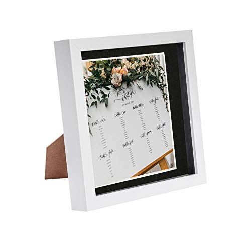 Nicola Spring 8 x 8 3D Shadow Box Photo Frame - Craft Display Picture Frame with 6 x 6 Mount - Glass Aperture - White/Black