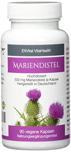 Mariendistel - EXVital VitaHealth - Mariendistel Extrakt mit 80% Silymarin Anteil, hoch konzentriert, 90 vegane Kapseln in Premiumqualiät, kein Magnesiumstearat und 100% vegan, ApoTest:'Sehr gut'